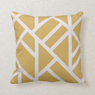 Modern Mustard Yellow and White Abstract Stripes Pillows