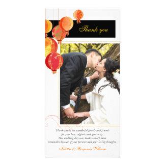 Modern n Stylish Asian Lanterns Wedding Thank You Photo Card