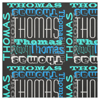 Modern Name Collage Kids/Boys Blue Fabric
