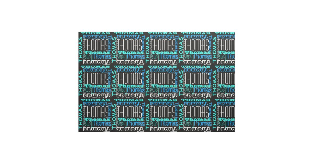 Modern name collage kids boys blue fabric zazzle for Modern kids fabric