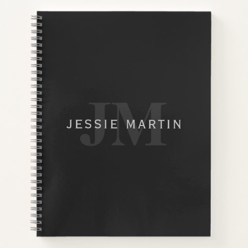 Modern Name  Monogram  Grey  Black Notebook