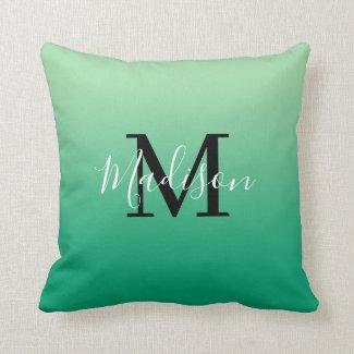 Modern Name Monogram Light to Dark Green Gradient Throw Pillow