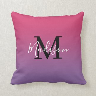 Modern Name Monogram Pink to Purple Gradient Throw Pillow