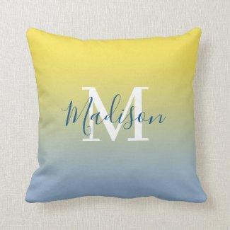 Modern Name Monogram Yellow to Light Blue Gradient Throw Pillow