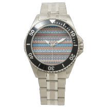 Modern Native American Tribal Aztec Pattern Wristwatch