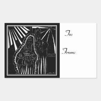 Modern Nativity Black White Christmas To: From: Rectangular Sticker