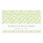 MODERN NATURE leaf pattern floral lime green Double-Sided Standard Business Cards (Pack Of 100)
