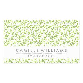 MODERN NATURE leaf pattern floral lime green Business Card