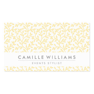 MODERN NATURE leaf pattern floral pale yellow Business Card