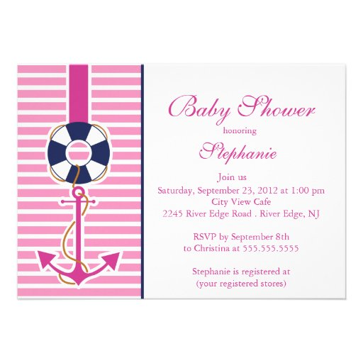 Modern Nautical Anchor Baby Shower Invitation