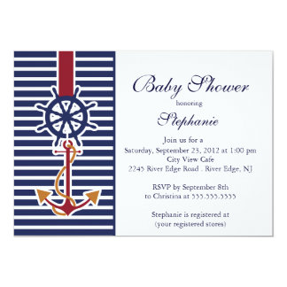 Modern Nautical Anchor Baby Shower Invitation