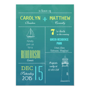 Modern Nautical Boat | Lighthouse Rehearsal Dinner 5x7 Paper Invitation Card