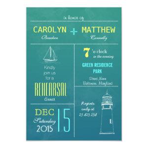 Modern Nautical Boat | Lighthouse Rehearsal Dinner 5x7 Paper Invitation Card