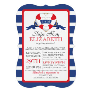 Modern Nautical Heart Buoy Bridal Shower Invitation