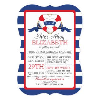 Modern Nautical Heart Buoy Bridal Shower Invitation