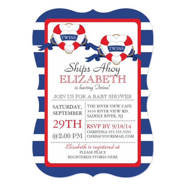 modern nautical heart buoy twins baby shower 5x7 paper invitation card