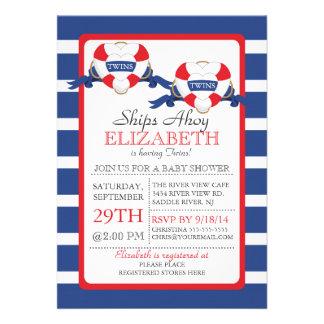 Modern Nautical Heart Buoy Twins Baby Shower Invitations