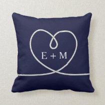 Modern Nautical Heart Rope Monogram Decorative Throw Pillow
