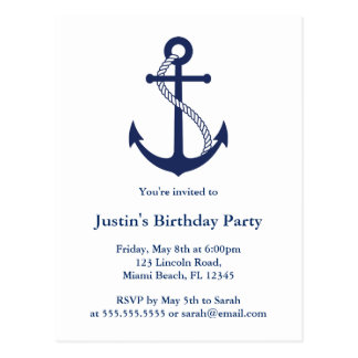 Modern Nautical Navy Blue Anchor invitations