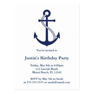 Modern Nautical Navy Blue Anchor invitations Postcard