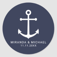 Modern Nautical Navy Blue Anchor Wedding Favor Classic Round Sticker