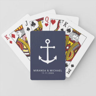 Modern Nautical Navy Blue Anchor Wedding Favor Playing Cards