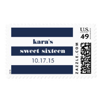 Modern Nautical Navy & White Stripe Sweet Sixteen Postage