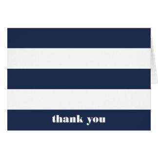Modern Nautical Navy & White Stripe Thank You Card