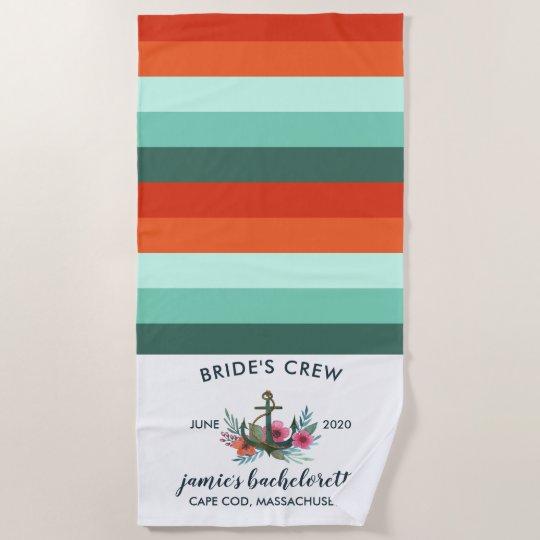 Modern Nautical Ocean C Bachelorette Weekend Beach Towel