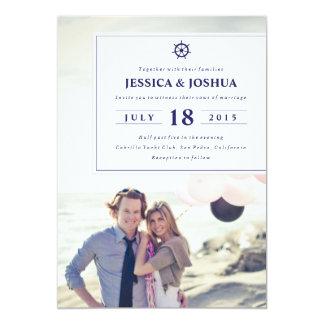 Modern Nautical Photo Wedding Invitation