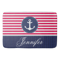 Modern Nautical Red Blue Anchor Personalized Bathroom Mat