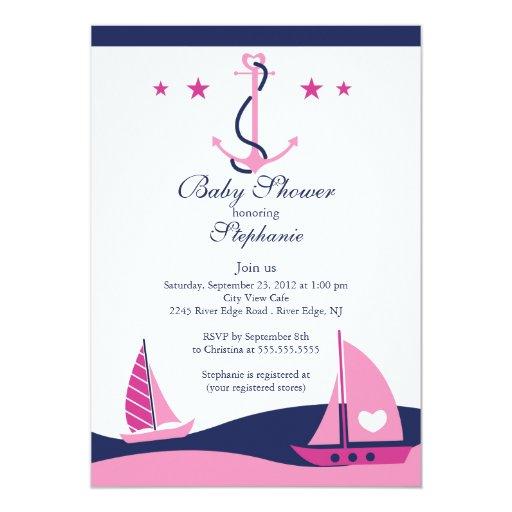 modern nautical sailboat baby shower invitation 5 x 7