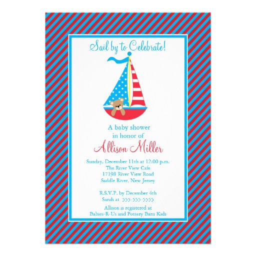 Modern Nautical Sailing Sailboat Boy Baby Shower Invite
