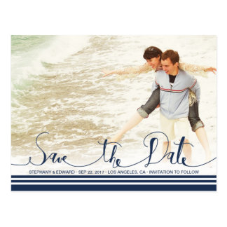Modern Nautical Save the Date Photo Postcard