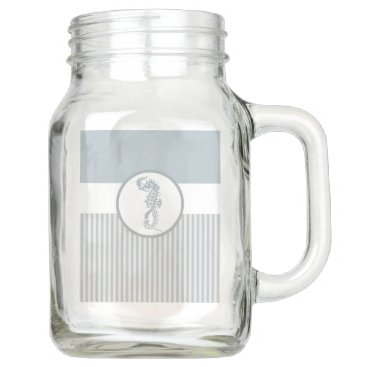 Beach Themed Modern Nautical Seahorse Beach Mason Jar