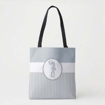 Beach Themed Modern Nautical Seahorse Beach Tote Bag