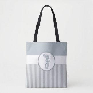 Modern Nautical Seahorse Beach Tote Bag