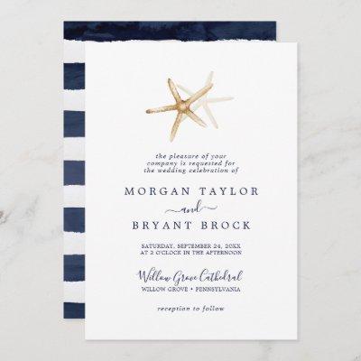 Modern Nautical   Starfish Formal Wedding Invitation