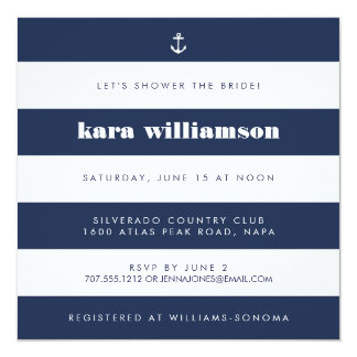 Modern Nautical Stripe Navy & White Bridal Shower Card