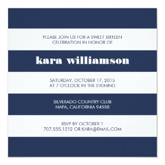 Modern Nautical Stripe Navy & White Sweet Sixteen Card