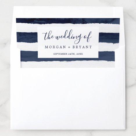 Modern Nautical Striped Wedding Envelope Liner