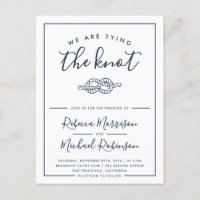 Modern Nautical Tying The Knot Wedding Invitation Postcard