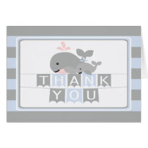 Modern Nautical Whale  Baby Shower Thank You Card