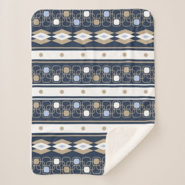 Aztec Themed Modern navy and beige abstract sherpa blanket