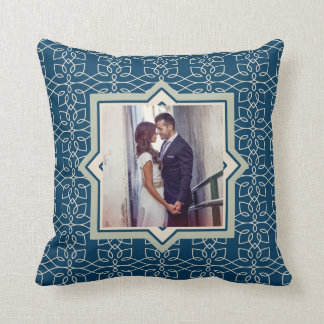 Modern Navy and Blush Pattern with Two Photos Throw Pillow
