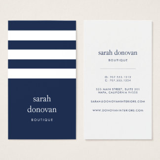 Modern Navy and White Stripe Business Card