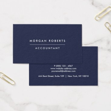 Lawyer Themed Modern Navy Blue Accountant Lawyer or Professional Business Card