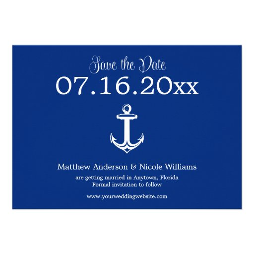 Modern Navy Blue Anchor Save The Date Invitation