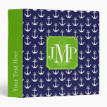 Modern Navy Blue Anchors Pattern Personalized 3 Ring Binders