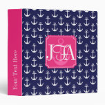 Modern Navy Blue Anchors Pattern Personalized 3 Ring Binder